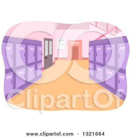 Clean School Hallway Interior with Purple Lockers Posters, Art Prints
