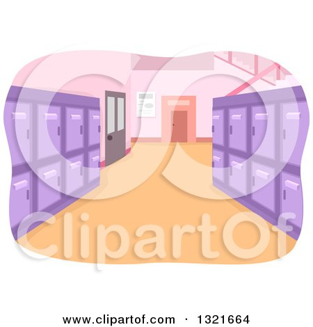 Clipart of a Clean School Hallway Interior with Purple Lockers - Royalty Free Vector Illustration by BNP Design Studio
