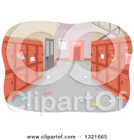 Clipart of a Messy School Hallway Interior with Red Lockers - Royalty Free Vector Illustration by BNP Design Studio