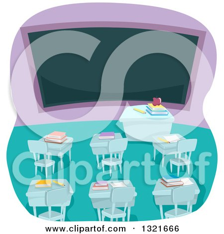 Clipart of an Empty High School Classroom Interior with Books on Desks and a Blank Chalk Board - Royalty Free Vector Illustration by BNP Design Studio