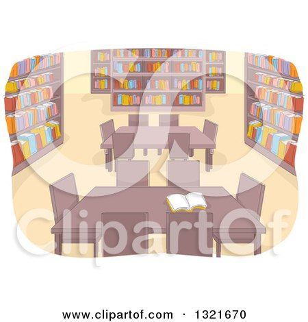 Clipart of a Library Interior with Tables - Royalty Free Vector Illustration by BNP Design Studio