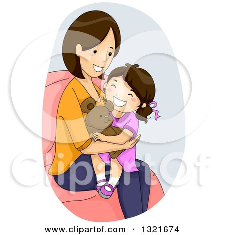 Clipart of a Happy Brunette White Mother Sitting with Her Daughter and Teddy Bear in Her Lap - Royalty Free Vector Illustration by BNP Design Studio