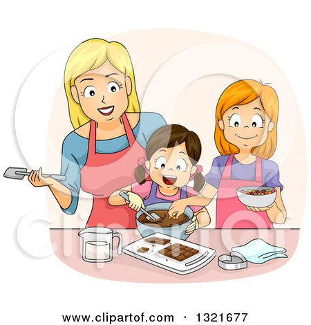 Clipart of a Happy White Mother Teaching Her Daughters How to Make Chocolate - Royalty Free Vector Illustration by BNP Design Studio