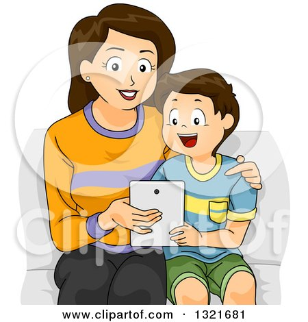Clipart of a Happy Brunette White Mother Sitting and Teaching Her Son How to Use a Tablet Computer - Royalty Free Vector Illustration by BNP Design Studio
