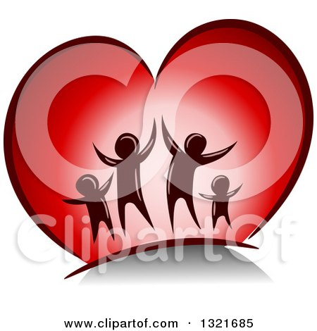 Clipart of a Happy Family Jumping in a Red Heart - Royalty Free Vector Illustration by BNP Design Studio