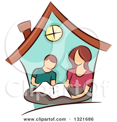 Clipart of a Brunette White Mother Home Schooling Her Son Inside a House - Royalty Free Vector Illustration by BNP Design Studio