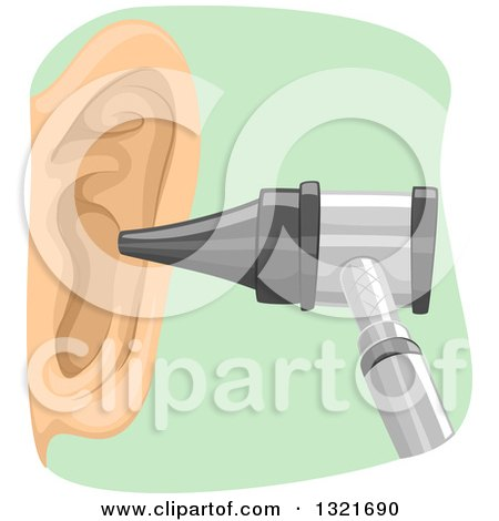 Clipart of an Otoscope by an Ear - Royalty Free Vector Illustration by BNP Design Studio