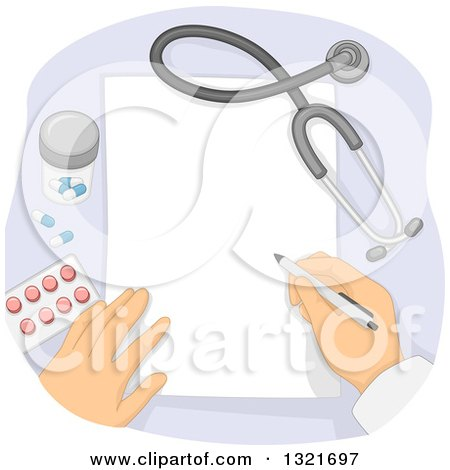 Cartoon Of A Happy Prescription Mascot With A Stethoscope
