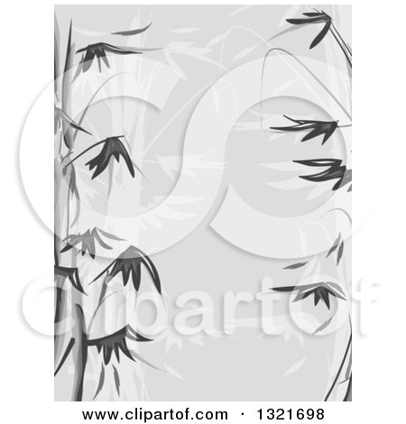 Clipart of a Grayscale Bamboo Stencil Background - Royalty Free Vector Illustration by BNP Design Studio