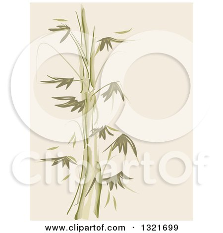 Clipart of a Green and Tan Bamboo Stencil Background - Royalty Free Vector Illustration by BNP Design Studio