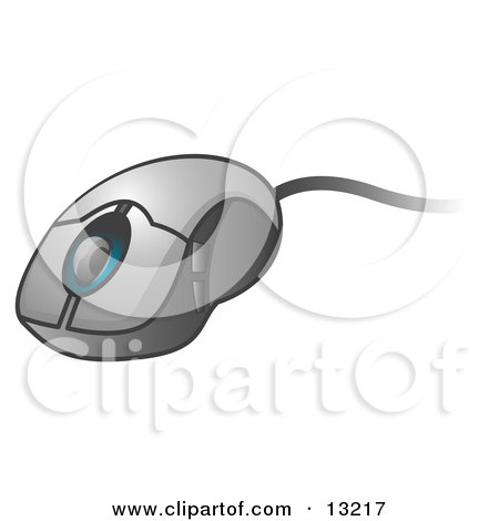 Corded Computer Mouse With a Scroll Clipart Illustration by Leo Blanchette