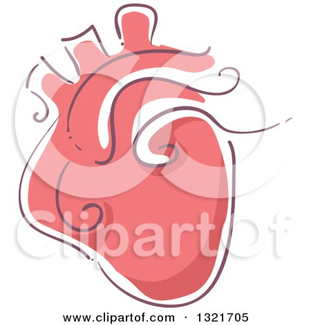 Clipart of a Sketched Red Human Heart - Royalty Free Vector Illustration by BNP Design Studio