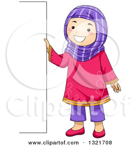 Clipart of a Happy Muslim Girl Standing by a Blank Sign Board - Royalty Free Vector Illustration by BNP Design Studio