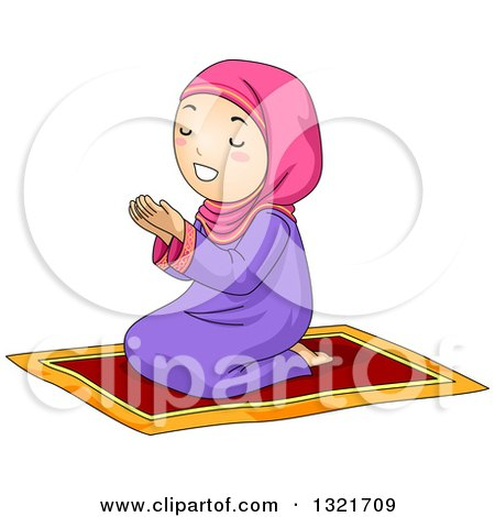 Clipart of a Muslim Girl Kneeling and Praying on a Carpet - Royalty Free Vector Illustration by BNP Design Studio