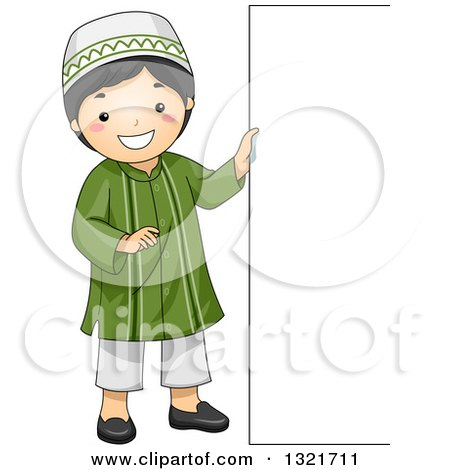 Clipart of a Happy Muslim Boy Standing by a Sign Board - Royalty Free Vector Illustration by BNP Design Studio