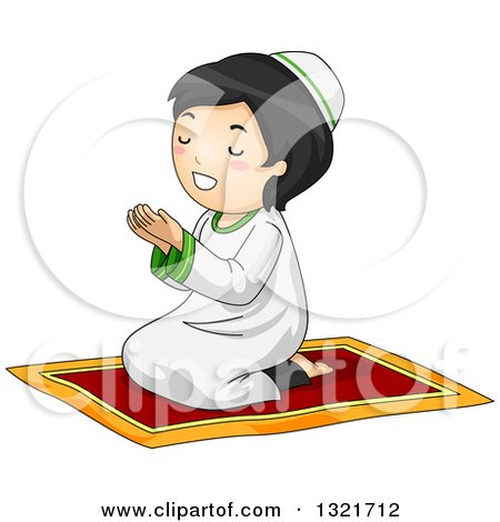 Clipart of a Happy Muslim Girl Sitting on the Floor and Reading ...