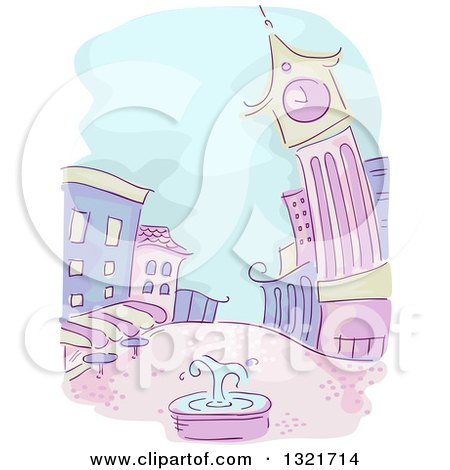 Clipart of a Sketched Purple and Green City with a Fountain in a Courtyard - Royalty Free Vector Illustration by BNP Design Studio