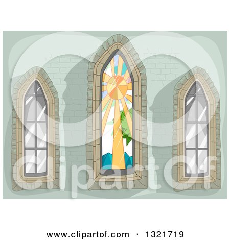 Clipart of a Green Stone Wall with Stained Glass and Clear Lancet Windows - Royalty Free Vector Illustration by BNP Design Studio