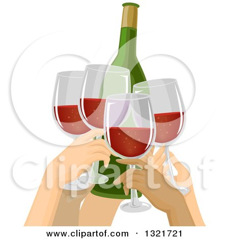 Clipart of a Group of People Toasting with Red Wine - Royalty Free Vector Illustration by BNP Design Studio