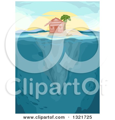 Clipart of a Hut and Palm Tree on an Island, with Underwater Views at Sunset - Royalty Free Vector Illustration by BNP Design Studio