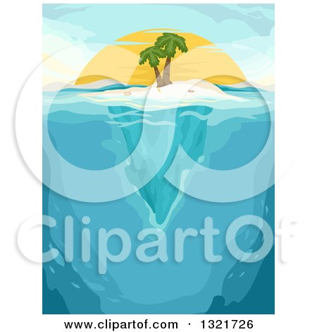 Clipart of a Palm Tree on an Island, with Underwater Views at Sunset - Royalty Free Vector Illustration by BNP Design Studio