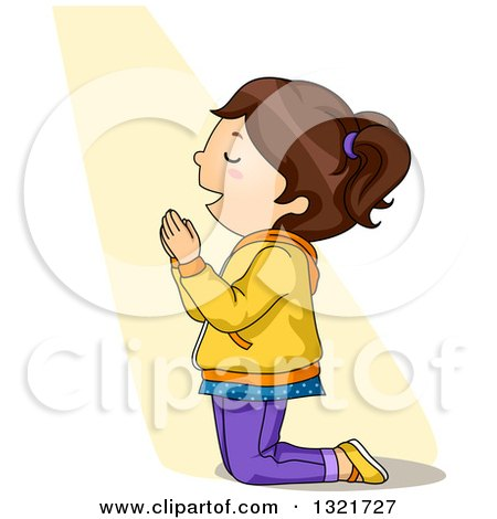 Clipart of a Brunette White Girl Kneeling and Praying in a Beam of Light - Royalty Free Vector Illustration by BNP Design Studio
