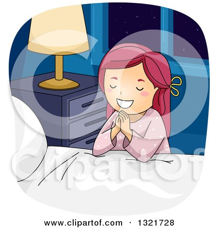 Clipart of a Happy Red Haired White Girl Kneeling and Saying Her Bed Time Prayers - Royalty Free Vector Illustration by BNP Design Studio