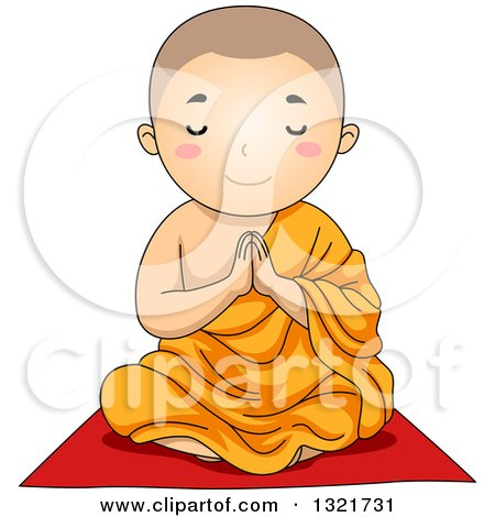 Clipart of a Buddhist Boy Sitting and Praying - Royalty Free Vector Illustration by BNP Design Studio