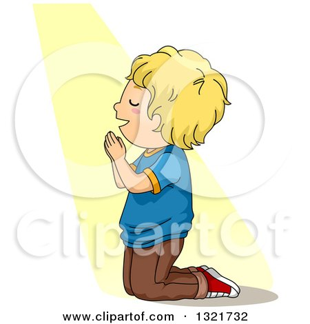 Clipart of a Blond White Boy Kneeling and Praying in a Beam of Light - Royalty Free Vector Illustration by BNP Design Studio