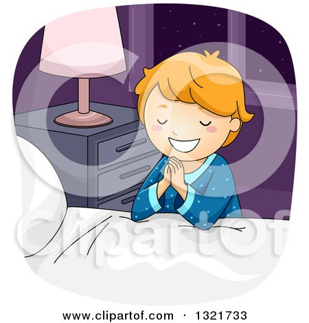 Clipart of a Happy White Boy Kneeling and Saying His Bed Time Prayers - Royalty Free Vector Illustration by BNP Design Studio