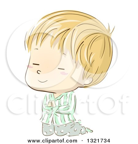 Clipart of a Sketched Blond White Boy Kneeling and Praying in Pajamas - Royalty Free Vector Illustration by BNP Design Studio