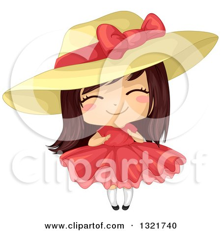 Clipart of a Cute Brunette White Girl in a Big Hat and Red Dress - Royalty Free Vector Illustration by BNP Design Studio