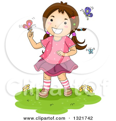 Clipart of a Brunette White Girl Playing with Spring Butterflies - Royalty Free Vector Illustration by BNP Design Studio