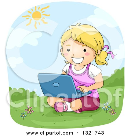 Clipart of a Happy Blond White Girl Sitting in Grass and Using a Laptop - Royalty Free Vector Illustration by BNP Design Studio