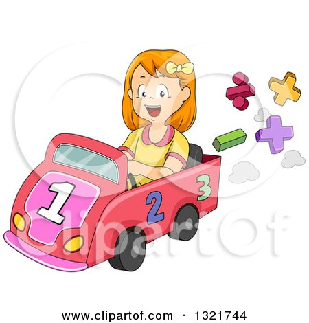 Clipart of a Happy Red Haired White School Girl Driving a Math Car - Royalty Free Vector Illustration by BNP Design Studio