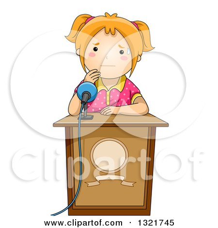 Clipart of a Nervous Red Haired White School Girl Sweating at a Podium, About to Give a Public Speech - Royalty Free Vector Illustration by BNP Design Studio