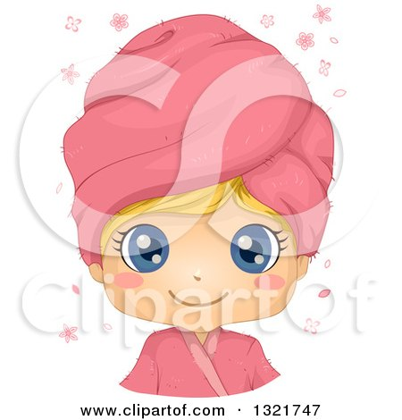 Clipart of a Happy Blond Haired White Girl with Big Blue Eyes, Wearing a Pink Spa Towel on Her Head - Royalty Free Vector Illustration by BNP Design Studio