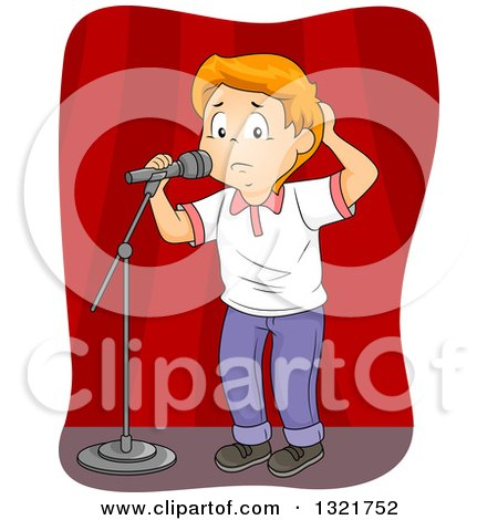 Clipart of a Nervous Red Haired White School Boy at a Microphone on Stage - Royalty Free Vector Illustration by BNP Design Studio