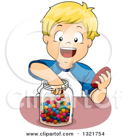 Clipart of a Happy Blond White Boy Reaching into a Candy Jar - Royalty Free Vector Illustration by BNP Design Studio