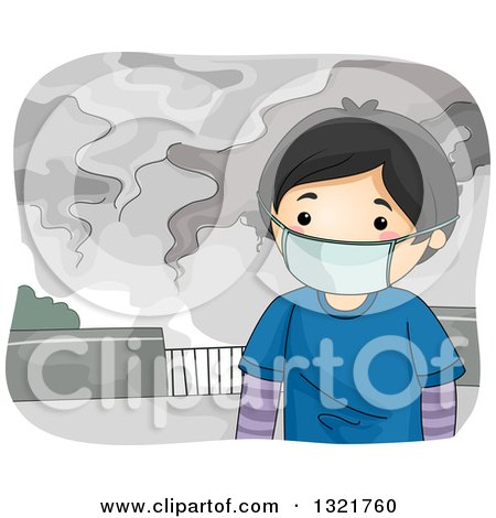 Clipart of an Asian Boy Wearing a Mask in a Polluted City - Royalty Free Vector Illustration by BNP Design Studio