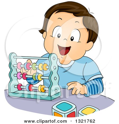 Clipart of a Happy Brunette White Toddler Boy Playing with an Abacus - Royalty Free Vector Illustration by BNP Design Studio