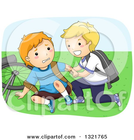 Clipart of a Nice Blond Boy Helping a Friend up After Falling off of His Bike - Royalty Free Vector Illustration by BNP Design Studio