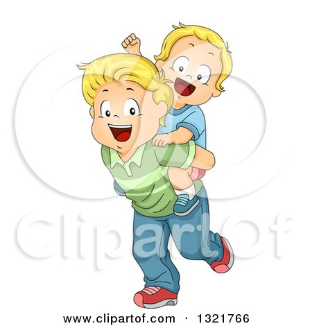 Clipart of a Happy Blond White Toddler Boy Cheering and Getting a Piggy Back Ride from His Brother - Royalty Free Vector Illustration by BNP Design Studio