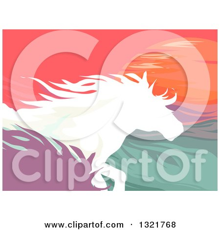 Clipart of Silhouetted Running Horses Against the Sunset - Royalty Free Vector Illustration by BNP Design Studio