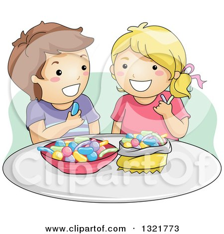 Clipart of a Happy Brunette White Boy and Blond Girl Eating Gummy Candy - Royalty Free Vector Illustration by BNP Design Studio