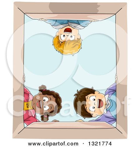Clipart of a Happy Black Girl and White Boys Looking down into a Box - Royalty Free Vector Illustration by BNP Design Studio
