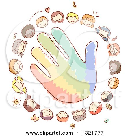 Clipart of a Sketched Circle of Happy Kid Faces Around a Colorful Hand - Royalty Free Vector Illustration by BNP Design Studio