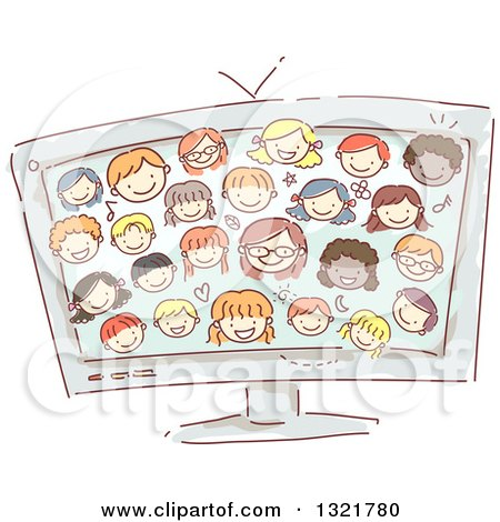 Clipart of a Sketched Computer Screen with Happy Kid Faces - Royalty Free Vector Illustration by BNP Design Studio