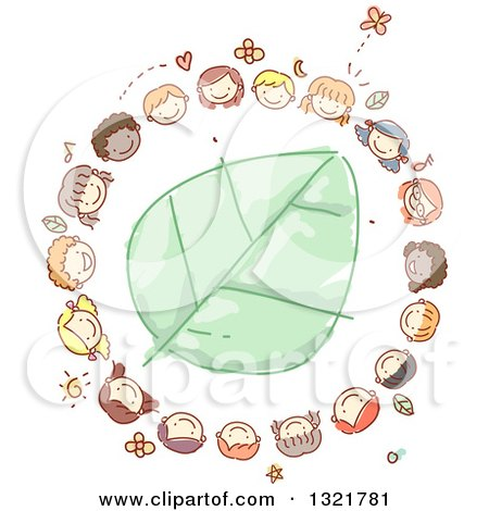 Clipart of a Sketched Circle of Happy Kid Faces Around a Green Leaf - Royalty Free Vector Illustration by BNP Design Studio