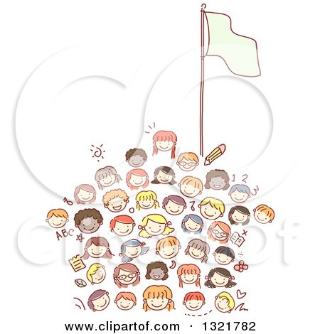 Clipart of a Sketched School House Made of Happy Kid Faces with a Flag Pole - Royalty Free Vector Illustration by BNP Design Studio
